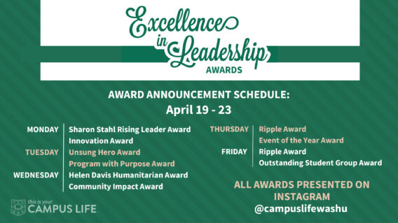 Excellence in Leadership 2021 presentation schedule for April 19-23