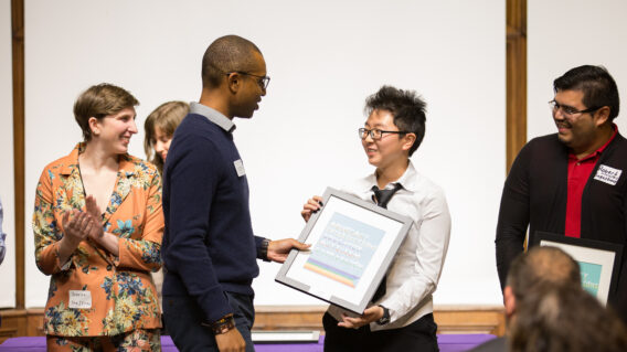 Student receiving award at Holobaugh Honors Ceremony