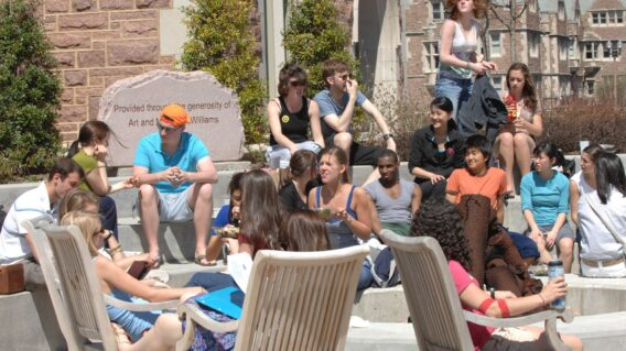 students at Danforth University Center plaza
