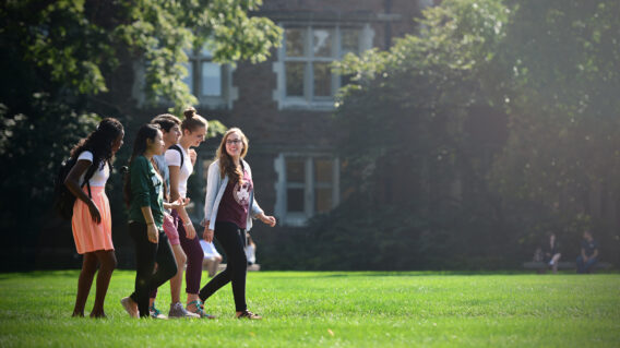Students walking across Brookings Quad