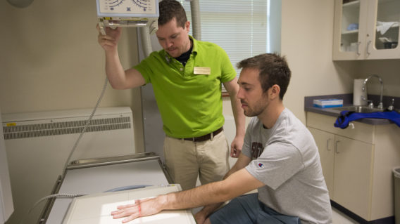Student receives radiology exam