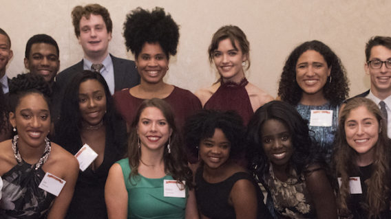 Ervin Scholars pose at anniversary dinner