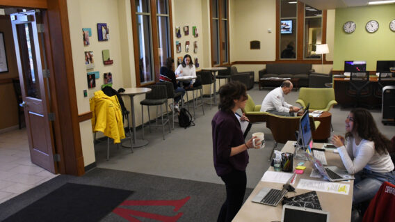 Room view of students in the lobby of the Career Center