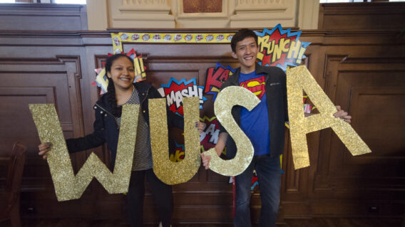 Student Leaders posing while holding WUSA letters