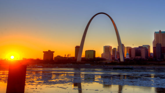 Gateway Arch at sunset