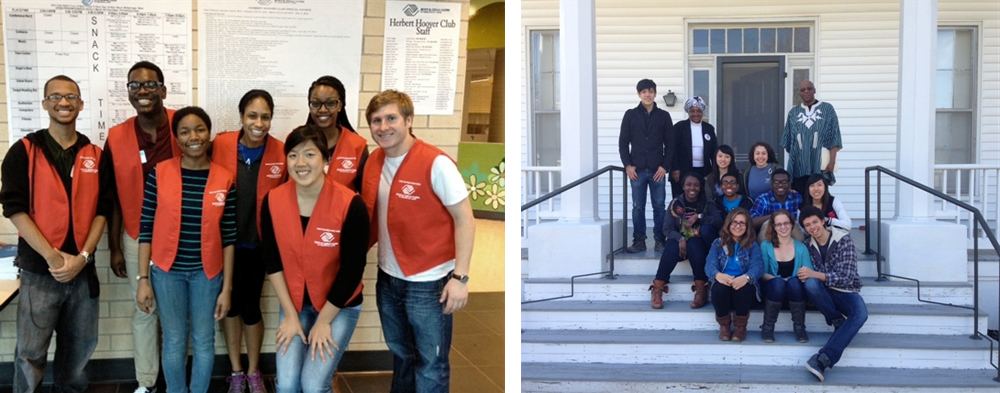 Students performing community service