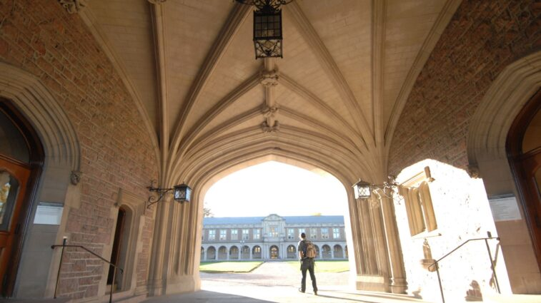 Student walking through Brookings arch