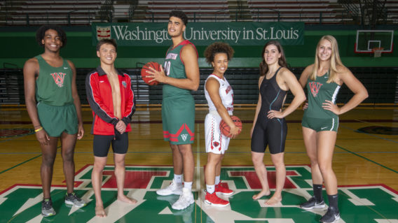 group of WashU student athletes from different sports