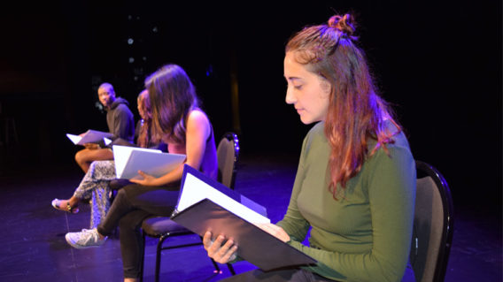 students reading monologue