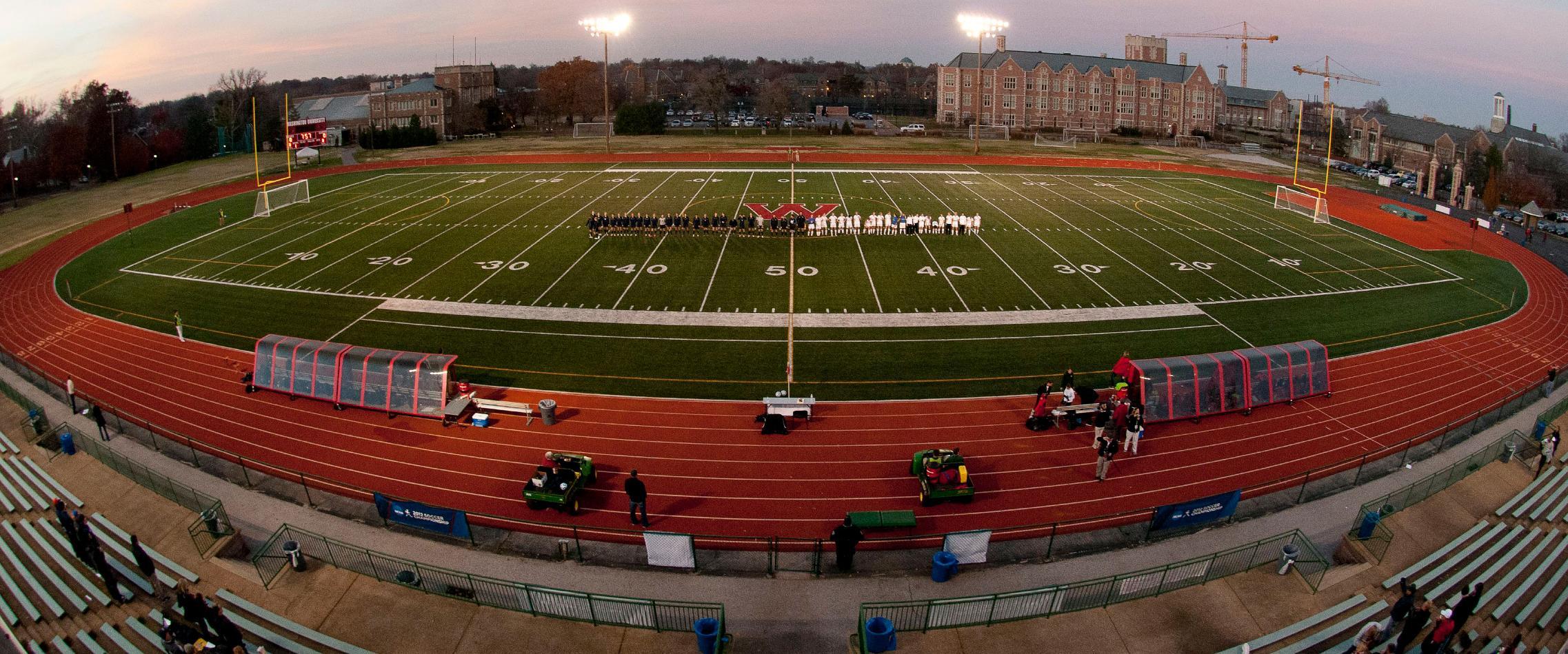Fisheye view of Athletes on field