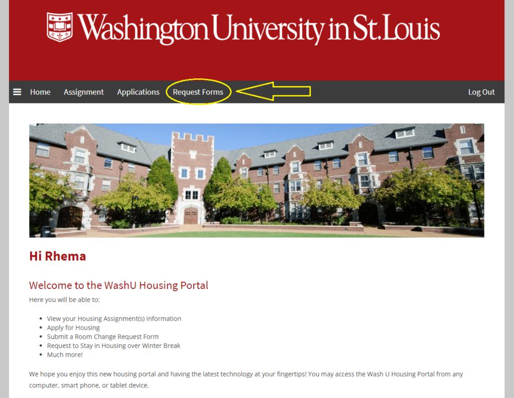Screenshot of WashU housing portal menu
