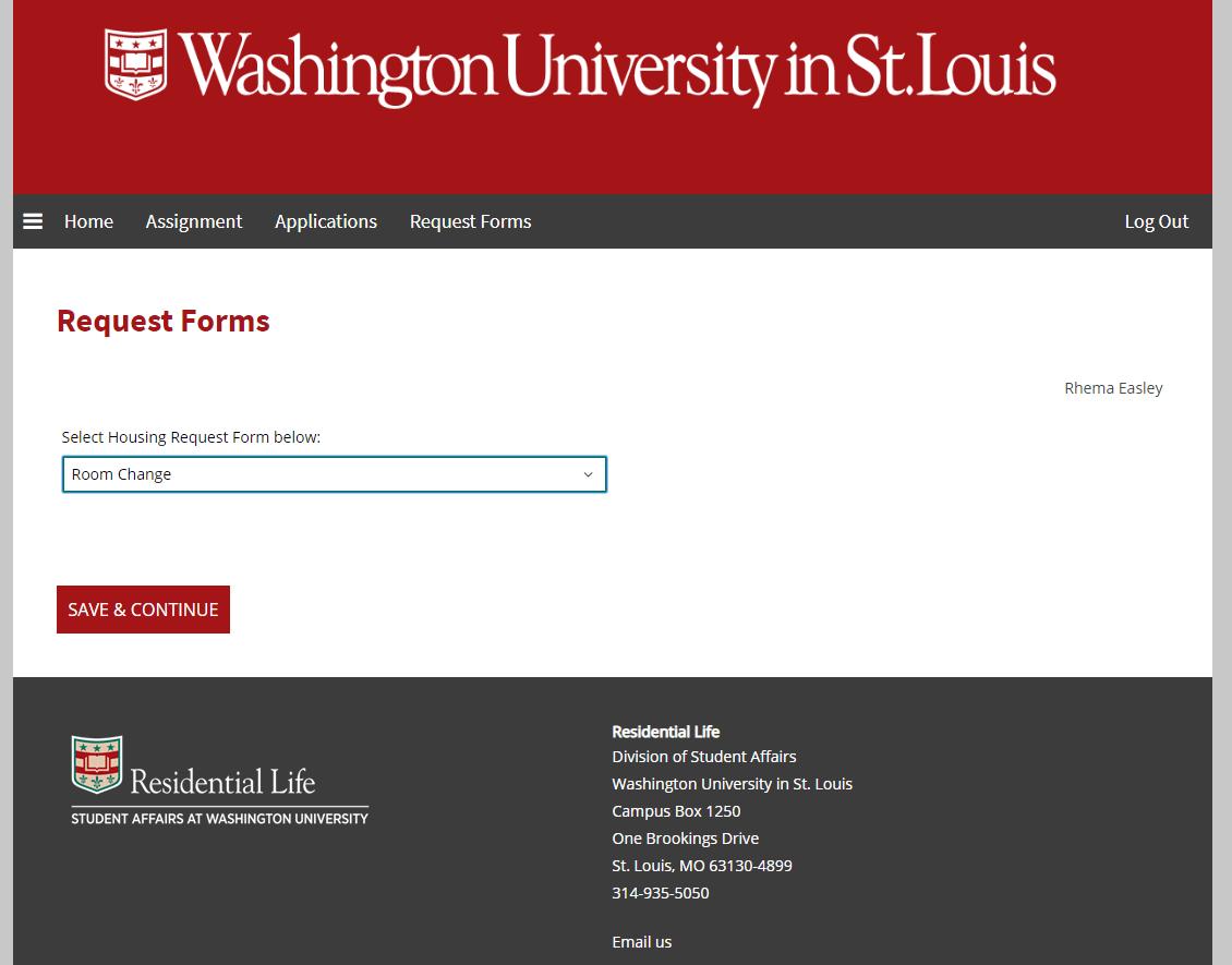 Screenshot of Housing Portal drop-down