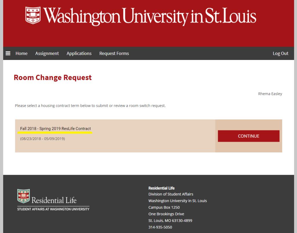 Screenshot of Housing Portal Room Change Request Selection