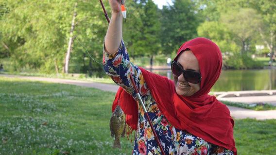 Student fishing
