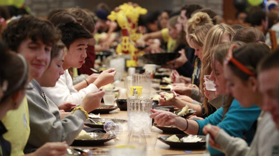 Students at dinner table