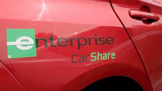 red CarShare car