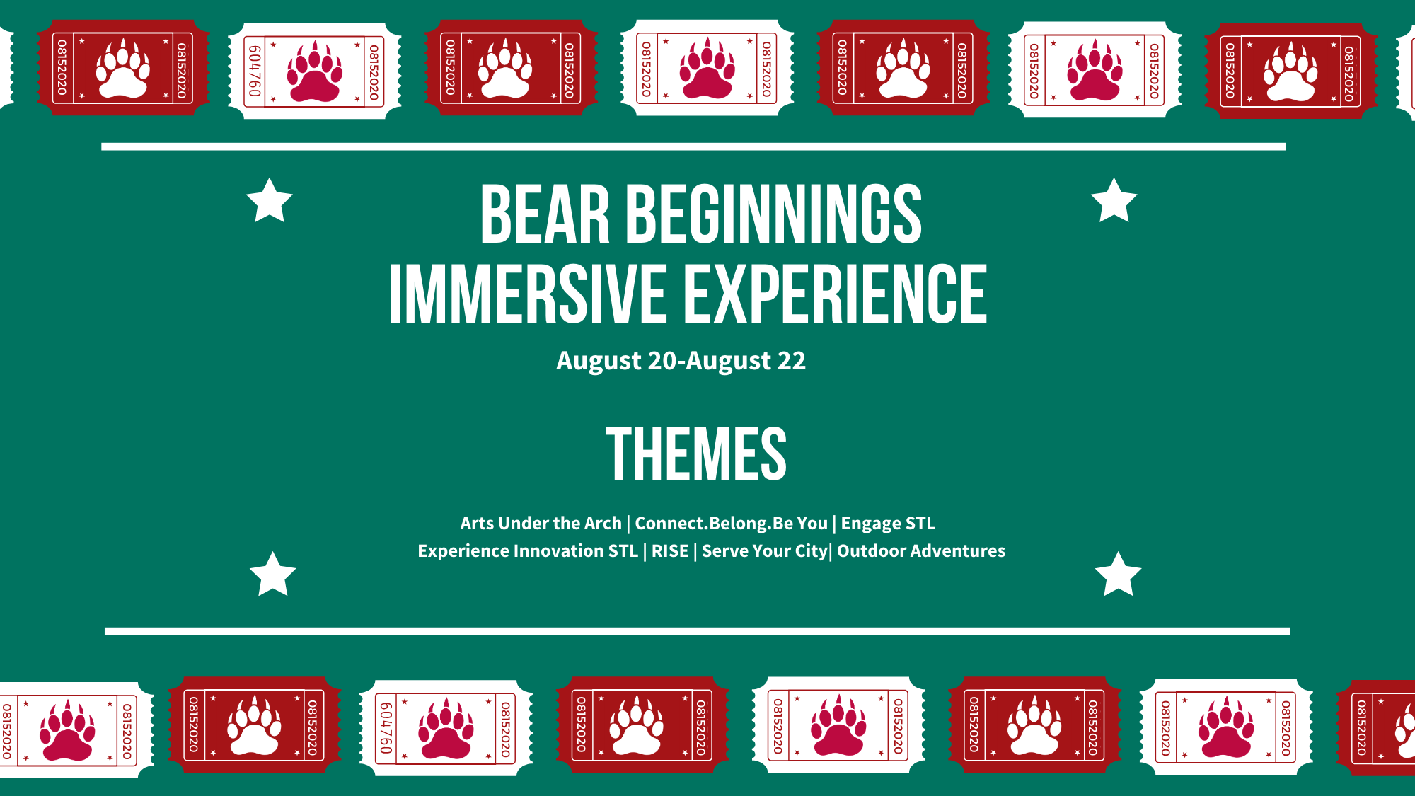BEAR Beginnings Immersive Experiences run Aug. 20-22 and include seven themes listed below.