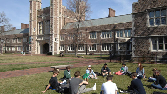 Outdoor class in the Quad