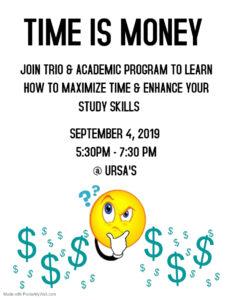 TRIO Time Management Event Setptember 4, 2019