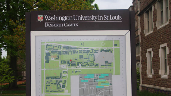 Danforth Campus map on sign