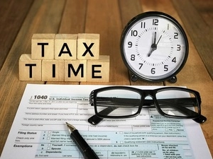 """picture of tax form, says """"tax time"""""""
