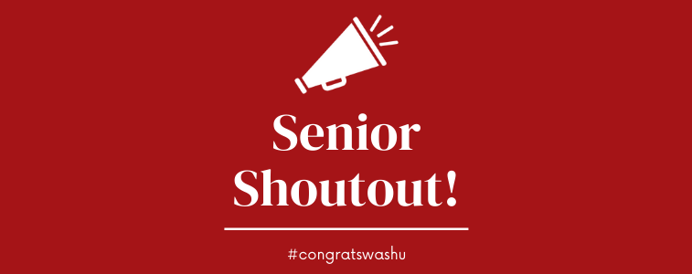 Banner graphic for Senior Shoutout program, #CongratsWashU