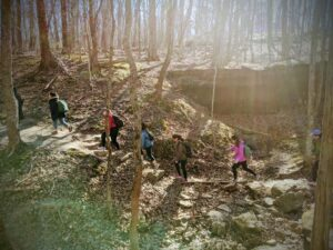 International Students Hiking at Don Robinson before the Pandemic. Each year OISS hosted an annual spring hiking trip that was halted this year due to the Pandemic. OISS plans to resume programming like this again once it can be done safely.