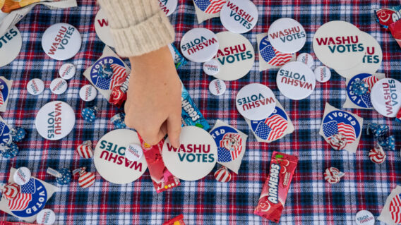 Buttons at 2020 election campus polling place